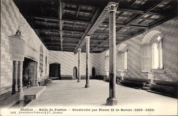 Ak Chillon Kt Waadt Schweiz, Salle de Justice 0