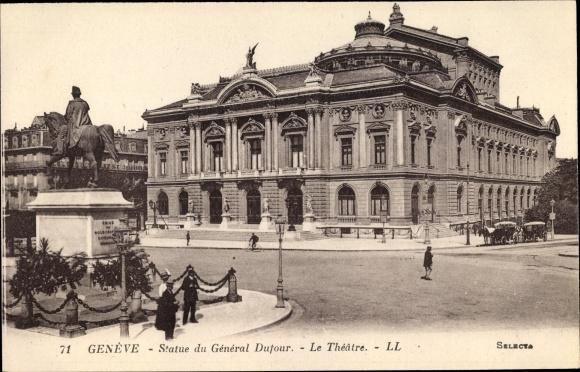 Ak Genève Genf Stadt, Statue du General Dufour, Le Theatre 0