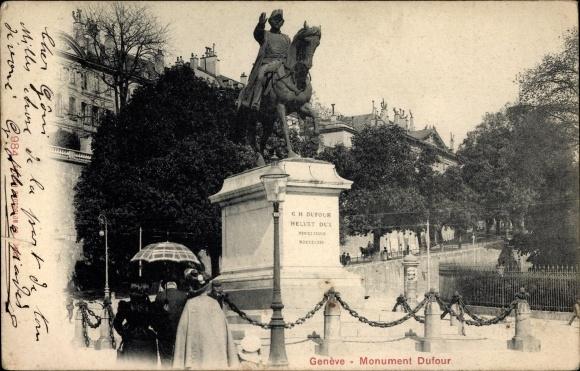 Ak Genève Genf Stadt, Monument Dufour 0