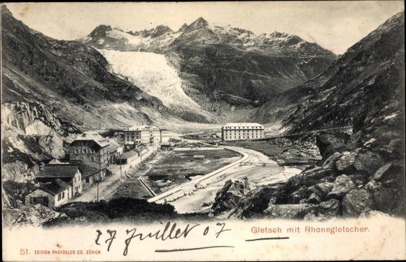 Ak Gletsch Kanton Wallis, Panorama mit Rhonegletscher 0