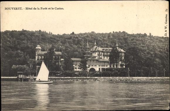 Ak Le Bouveret Kanton Wallis, Hotel de la Foret et le Casino, Segelboot 0