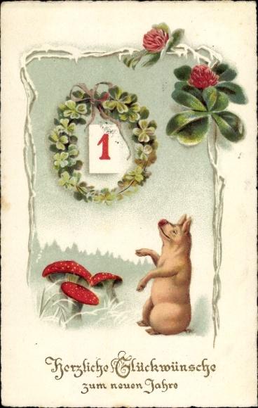 Ak Glückwunsch Neujahr, Kleeblatt, Schwein, Pilze 0
