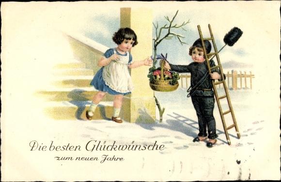 Ak Glückwunsch Neujahr, Schornsteinfeger, Präsentkorb für Mädchen 0