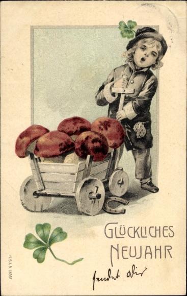 Ak Glückwunsch Neujahr, Kleeblatt, Kind mit Fuhrwerk, Pilze 0