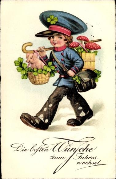 Ak Glückwunsch Neujahr, Postbote, Kleeblätter, Glücksschwein, Glückspilze 0