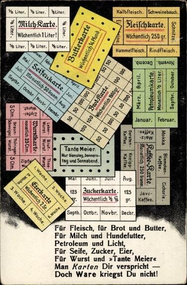 Ak Milchkarte, Butterkarte, Fleischkarte, Seifenkarte, Eierkarte, Wurstkarte, I. WK 0
