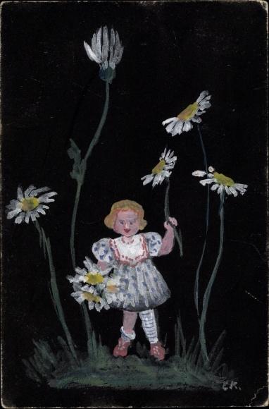 Künstler Ak Kind beim Blumen pflücken 0