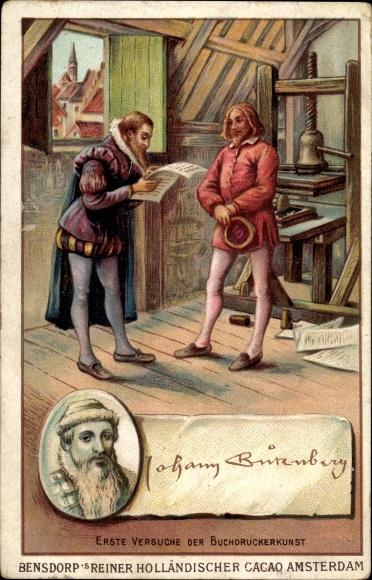 Künstler Ak Johannes Gutenberg, erste Versuche Buchdruckerkunst, Bensdorp's holländischer Kakao 0