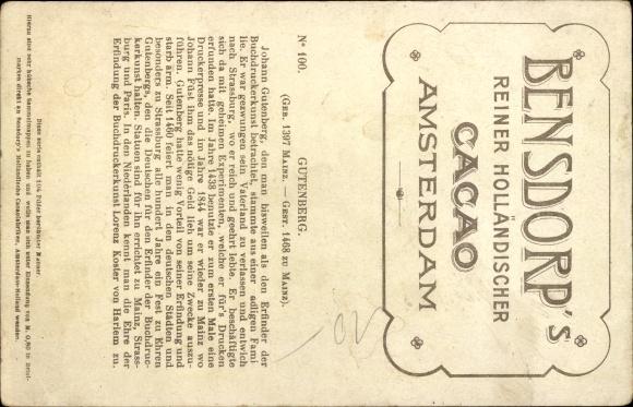 Künstler Ak Johannes Gutenberg, erste Versuche Buchdruckerkunst, Bensdorp's holländischer Kakao 1