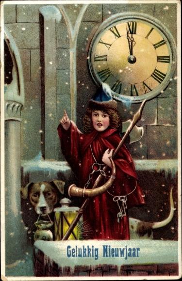 Ak Glückwunsch Neujahr, Uhr, Mönch, Hund, Gelukkig Nieuwjaar 0