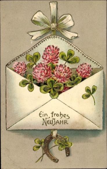 Präge Ak Glückwunsch Neujahr, Kleeblätter, Hufeisen, Brief 0