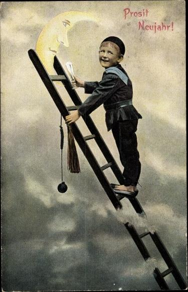 Ak Glückwunsch Neujahr, Schornsteinfeger auf der Leiter, Sichelmond 0