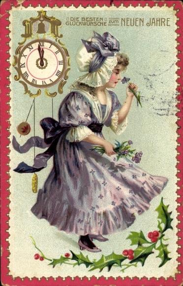 Ak Glückwunsch Neujahr, Mädchen an Blume riechend, Uhr 0