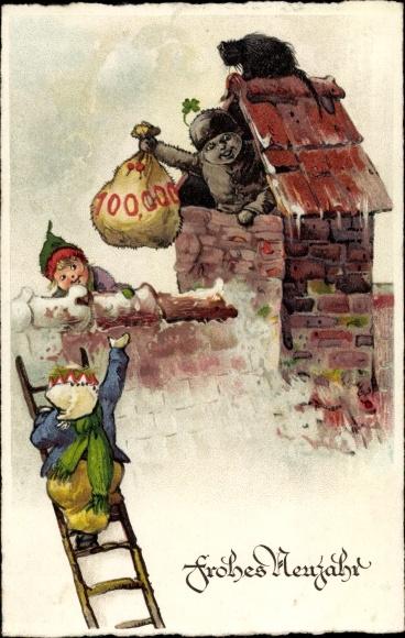 Künstler Ak Glückwunsch Neujahr, Schornsteinfeger mit Geldsack, Kinder 0