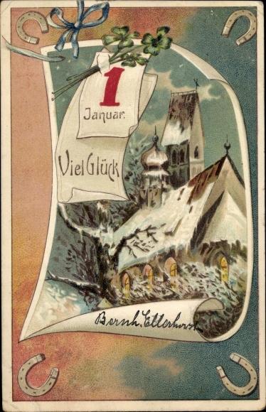 Präge Litho Glückwunsch Neujahr, Kalenderblatt 1. Januar, Kirche, Hufeisen, Kleeblätter 0