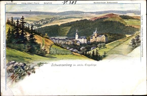 Künstler Ak Falk G., Schwarzenberg im Erzgebirge, Rockelmann, König Albert Turm, Schlosswald 0