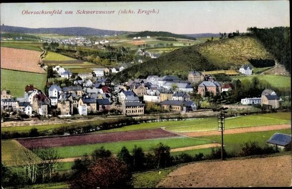 Ak Obersachsenfeld Schwarzenberg, Totalansicht vom Ort 0