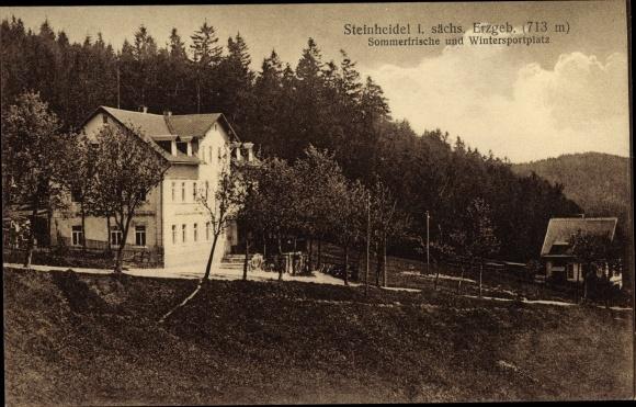 Ak Steinheidel Breitenbrunn im Erzgebirge, Gasthof, Wintersportplatz 0