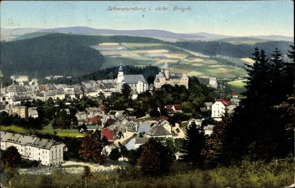 Ak Schwarzenberg im Erzgebirge Sachsen, Gesamtansicht 0
