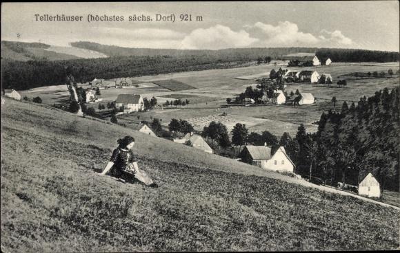 Ak Tellerhäuser Breitenbrunn Erzgebirge, Panorama 0