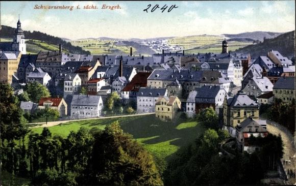 Ak Schwarzenberg im Erzgebirge Sachsen, Teilansicht 0