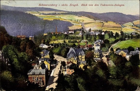 Ak Schwarzenberg im Erzgebirge Sachsen, Blick von den Todenstein Anlagen 0