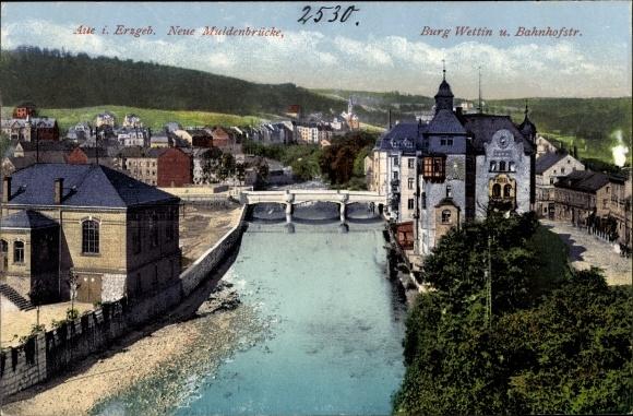 Ak Aue im Erzgebirge Sachsen, Neue Muldenbrücke, Burg Wettin und Bahnhofstraße 0