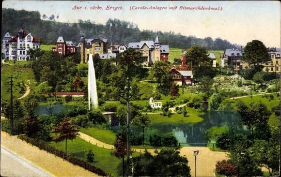 Ak Aue im Erzgebirge Sachsen, Carola Anlagen mit Bismarckdenkmal 0