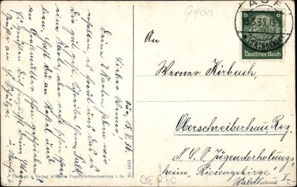 Ak Aue im Erzgebirge Sachsen, Carola Anlagen mit Bismarckdenkmal 1