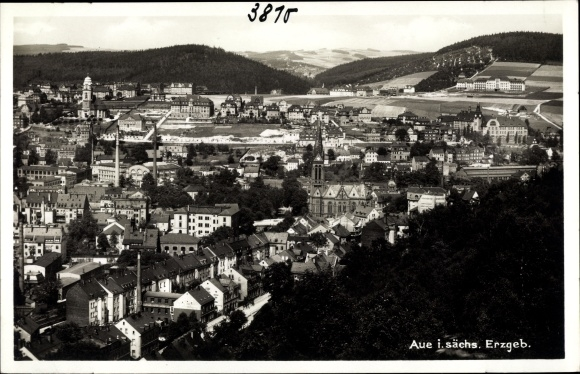 Ak Aue im Erzgebirge Sachsen, Panorama vom Ort 0