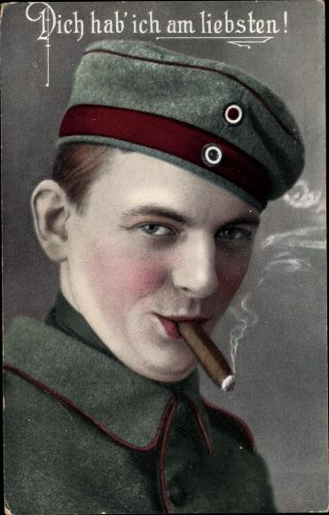 Ak Zigarre rauchender Soldat, Dich hab ich am liebsten 0