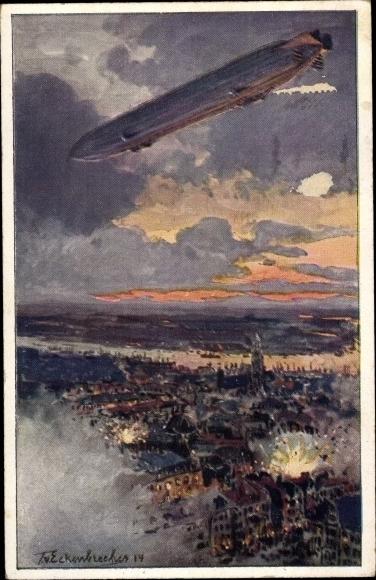 Künstler Ak Zeppelin über Antwerpen, Bombenhagel, Deutscher Luftflotten Verein 0