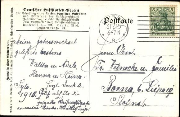 Künstler Ak Zeppelin über Antwerpen, Bombenhagel, Deutscher Luftflotten Verein 1