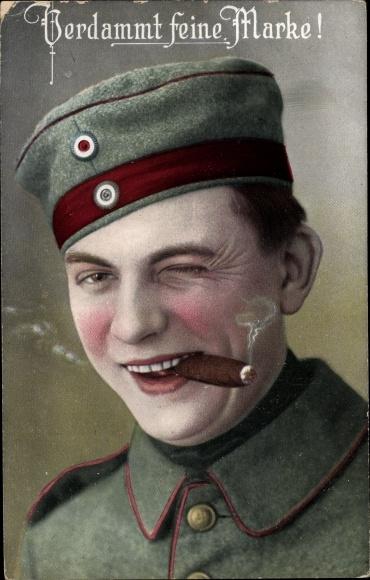 Ak Verdammt feine Marke, Soldat mit Zigarre 0
