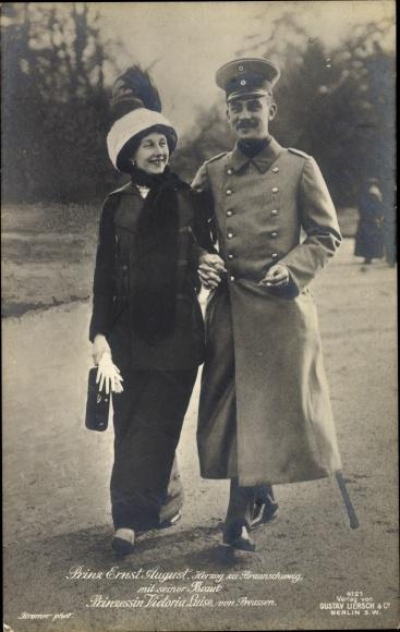 Ak Herzog Ernst August von Braunschweig, Prinzessin Viktoria Luise von Preußen, Liersch 4121 0