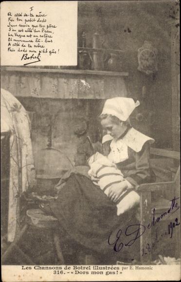 Ak Bretagne, Les Chansons de Botrel illustrées, Dors mon gas, Mutter mit Kind 0