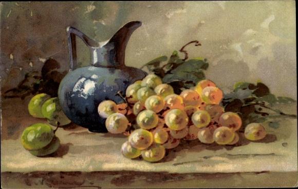 Künstler Ak Stilleben, Weintrauben, Äpfel, Weinkrug 0