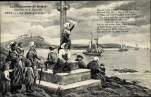 Lied Ak Les Chansons de Botrel, La Paimpolaise, Frauen in Tracht am Ufer, Segelschiffe