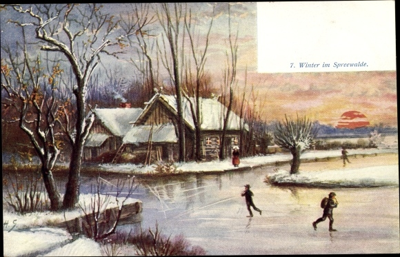 Ak Winter im Spreewald, untergehende Sonne, Kinder laufen Schlittschuh 0