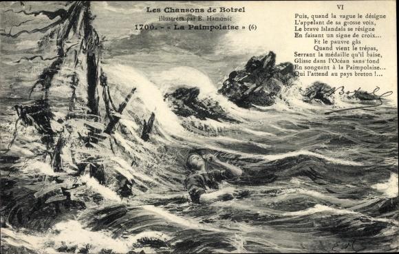 Künstler Ak Les Chansons de Botrel, La Paimpolaise, Le Brave Islandais, bretonische Küste 0