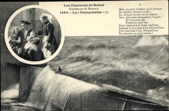 Lied Ak Les Chansons de Botrel, La Paimpolaise, Seemann mit Familie, Überflutung 0