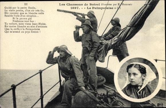 Lied Ak Les Chansons de Botrel, La Paimpolaise, Frau in Tracht, Matrosen mit Fernglas 0