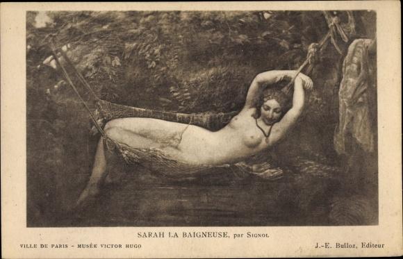 Ak Sarah la Baigneuse par Signol, barbusig, Frau im Fischernetz, Akt, Museé Victor Hugo Paris 0