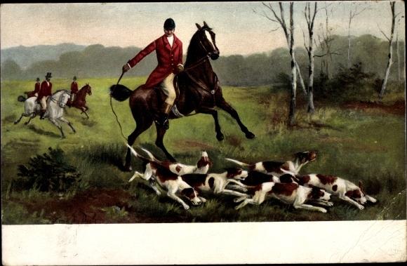 Ak Englische Jagd mit Hunden, Reiter mit Gerte 0