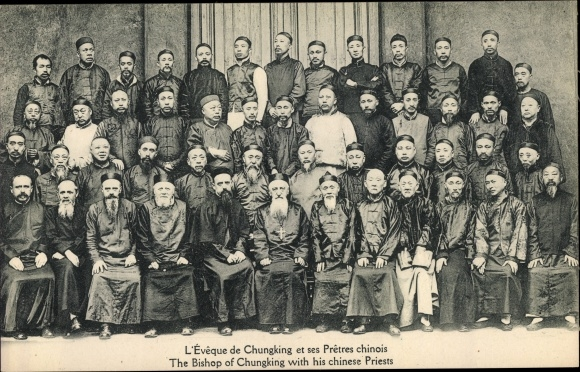 Ak Chungking China, The Bishop of Chungking with his chinese Priests 0