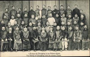 Ak Chungking China, The Bishop of Chungking with his chinese Priests
