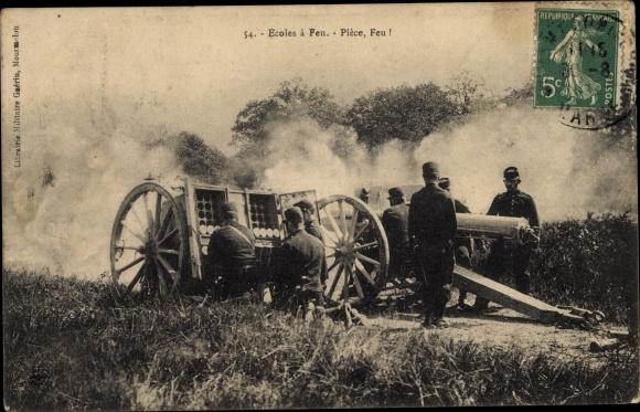 Ak Ecole à Feu, Pièce, Feu - Artillerie Feuerübung, Schulschießen einer Haubitze 0