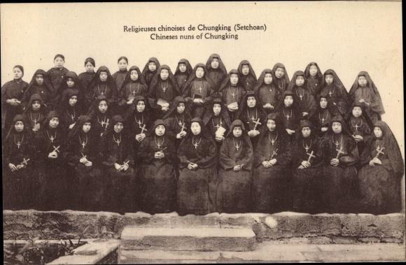Ak Chungking China, Religieuses chinoises de Chungking, Nonnen 0