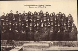 Ak Chungking China, Religieuses chinoises de Chungking, Nonnen