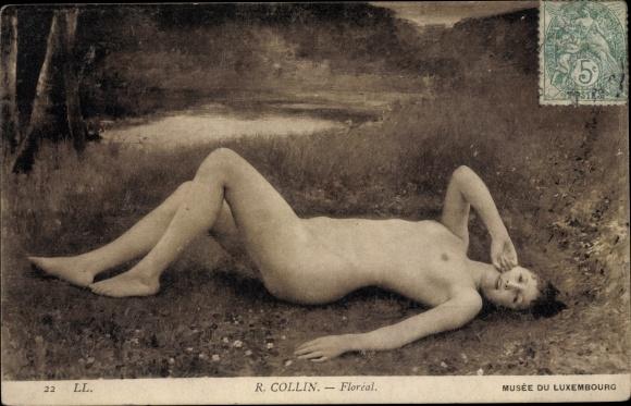 Ak Akt, barbusige Frau liegt auf dem Waldboden, Florial, R. Collin, Musée de Luxembourg 0